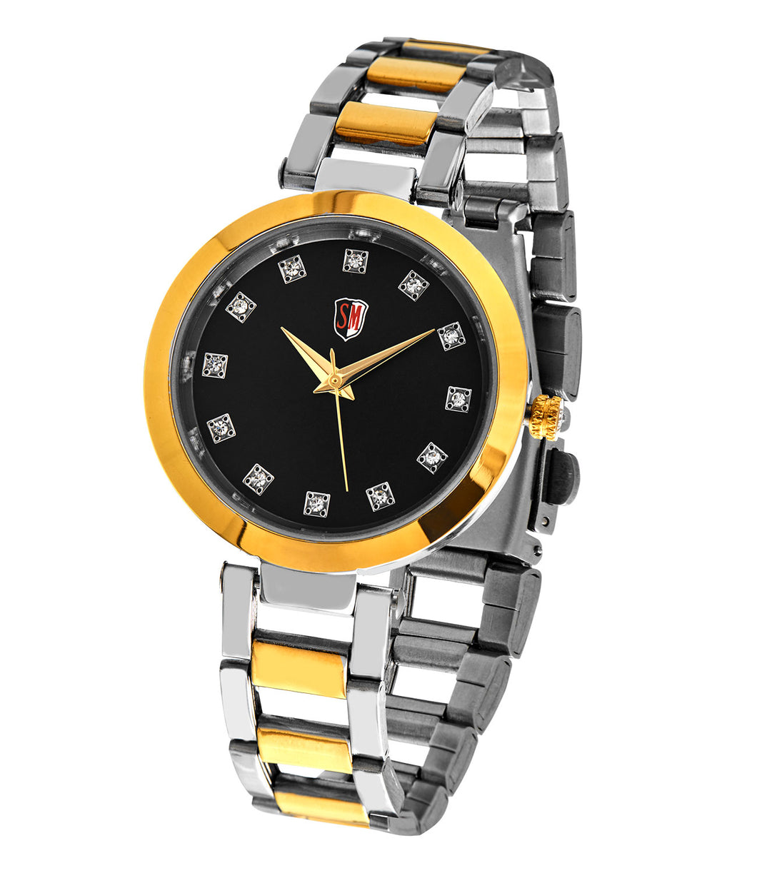 SM LADIES STONE EMBEDDED BLACK DIAL WATCH