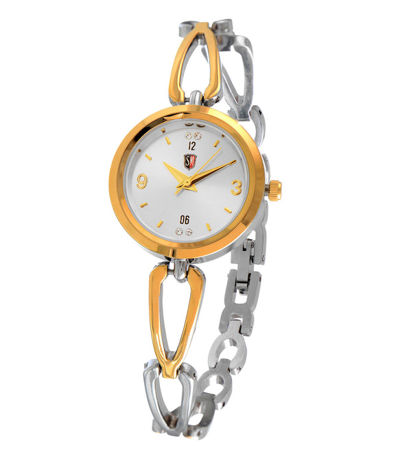 SM LADIES DESIGNER STONE EMBEDDED TWO TONE GOLD WATCH