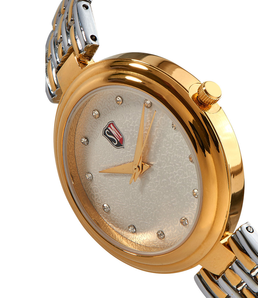 SM LADIES STONE EMBEDDED TWO TONE GOLD WATCH WITH MESH METAL STRAP