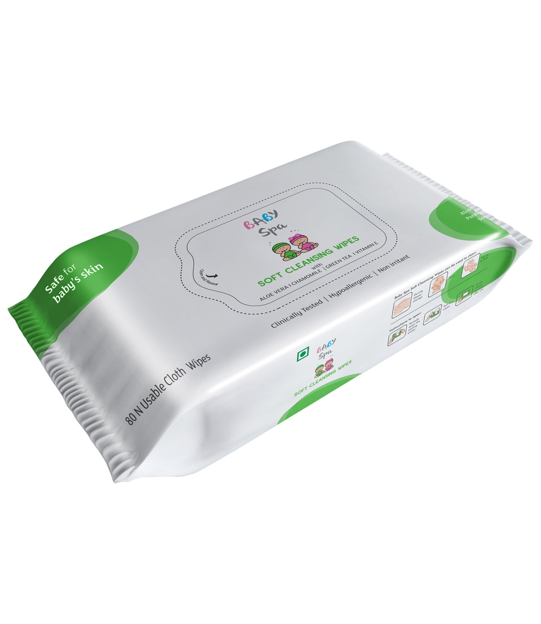 BABY SPA SOFT CLEANSING WIPES (80 PCS) - Pack of 2