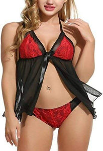 Women's Crepe Net Babydoll Nightwear Dress (Red Black - Worldshopon.com