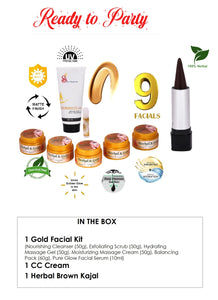 SKIN ABSOLUTE Ready to Party Combo of Herbal & Gold Facial Kit, Herbal Kajal, CC Cream - Worldshopon.com