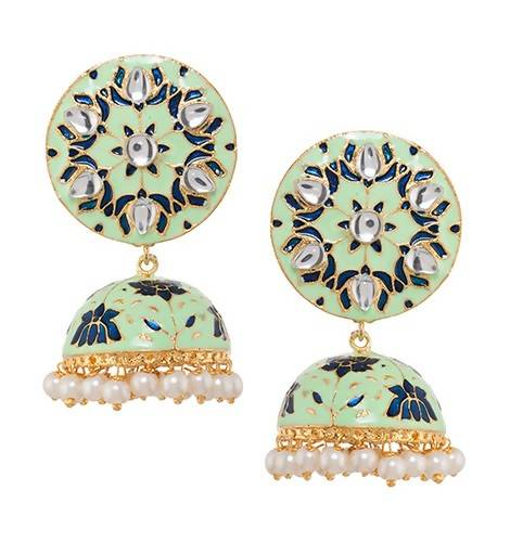 KAMAL JHUMKI GREEN (EARRING 2N) - Worldshopon.com