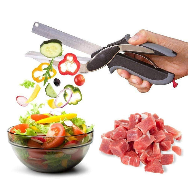 Multi Function 2 in 1 Kitchen Vegetable Clever Cutter Stainless Steel Scissor - worldshopon-com
