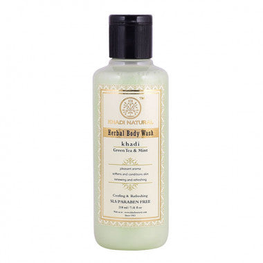 KHADI NATURAL - AYURVEDIC GREEN TEA & MINT BODY WASH SLS & PARABEN FREE - Worldshopon.com