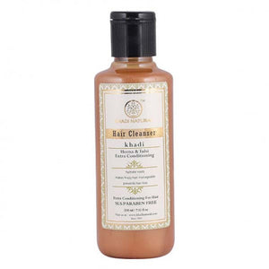 KHADI NATURAL - AYURVEDIC HENAA TULSI EXTRA CONDITIONING HAIR CLEANSER SLS & PARABEN FREE - Worldshopon.com
