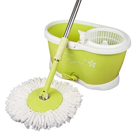 360 Degree Spin Bucket Mop with Drainer (Assorted Colour)) - worldshopon-com