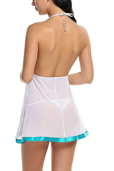 Women's Polyester and Net Babydoll Nightwear with G-String - Worldshopon.com