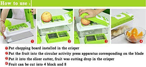 Ideal Home Nicer Dicer Vegetable Cutter 12 in 1  - All in One Chopper, Grater, Slicer, Dicer, Peeler -  (Green) - Worldshopon.com