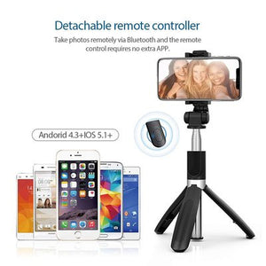 Selfie Stick, Extendable Selfie Stick with Tripod Stand and Detachable Wireless Bluetooth Remote, Ultra Compact Selfie Stick for Mobile and All Smart Phones