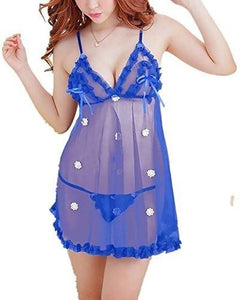Women's Polyester and Net Babydoll Nightwear Night Dress