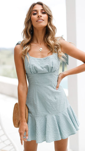 Blue Ruffle Summer Beach Dress