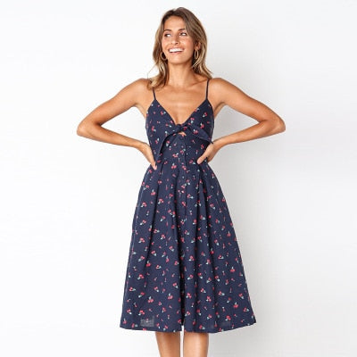 Backless Bow Dress Blue & Flowers