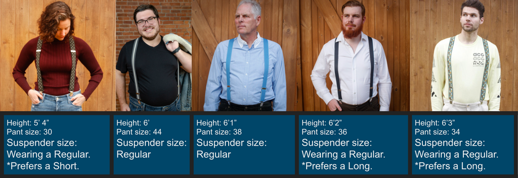 suspender size examples for men and women