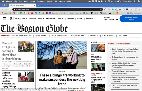 Better Than Belts Modern Suspender in The Boston Globe