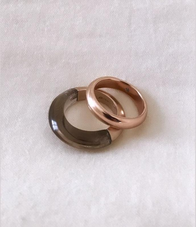 1/2 + 1/2 Ring:Smokey Quartz + Venetian Brown Gold