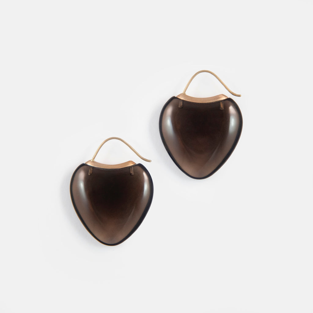 Papal Earring:Smokey Quartz + 18k Brown Gold