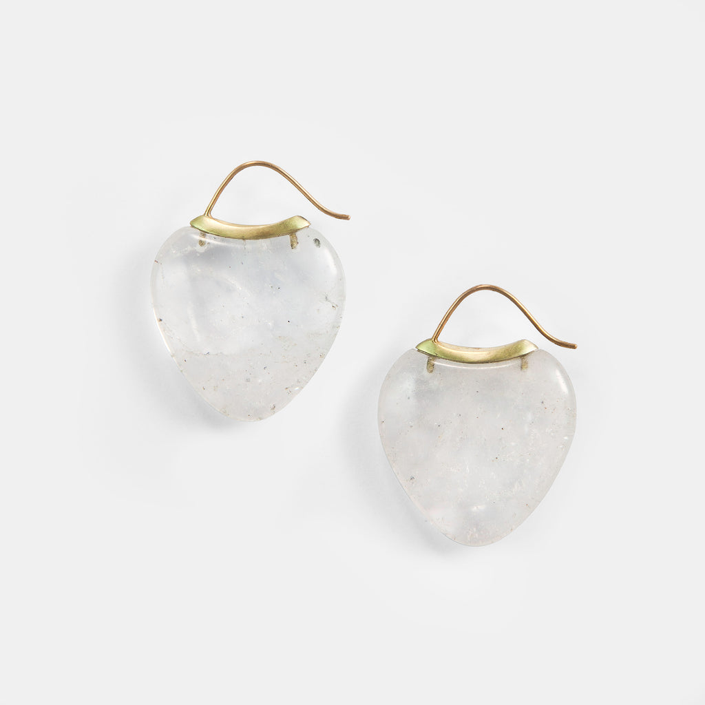 Papal Earring:Rock Quartz + 14k Green Gold