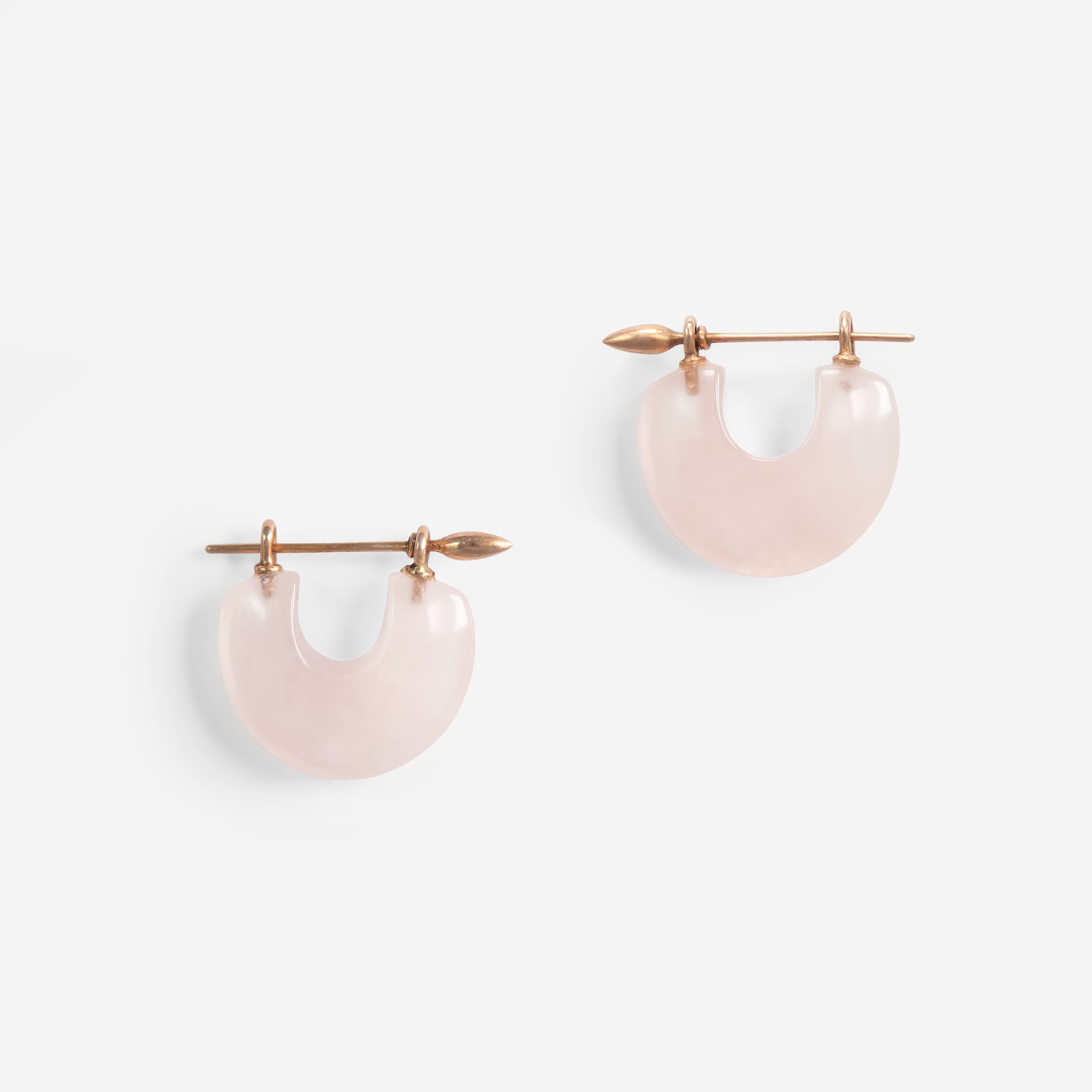 Arch Earrings:Rose Quartz + 14k Rose Gold