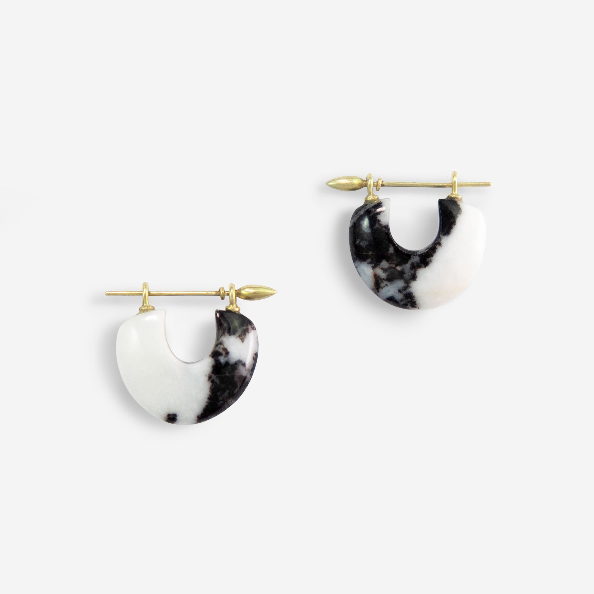 Arch Earrings:Zebra Stone + 14k Green Gold