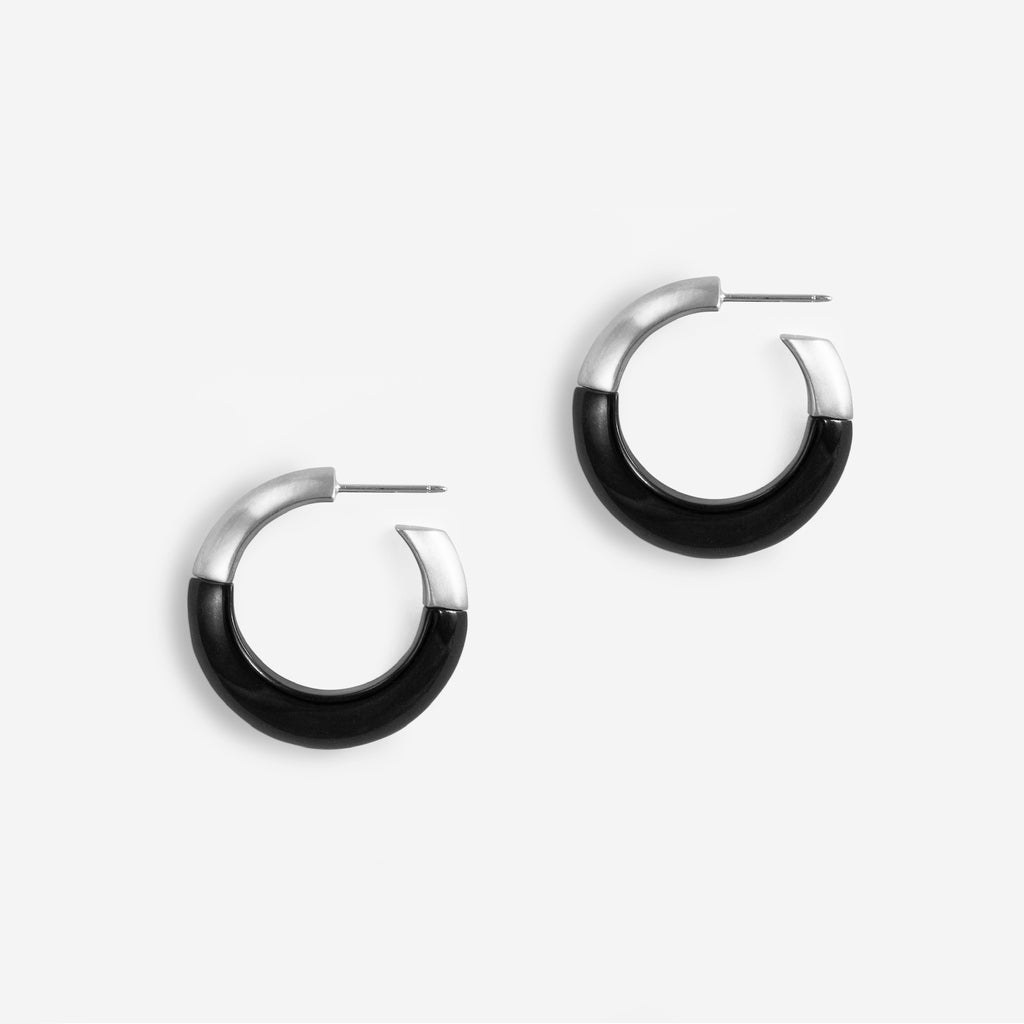 1/2 + 1/2 Hoops : Black Jade + Silver