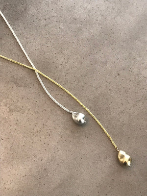 Gold + Silver Double Cast Pearl Lariat