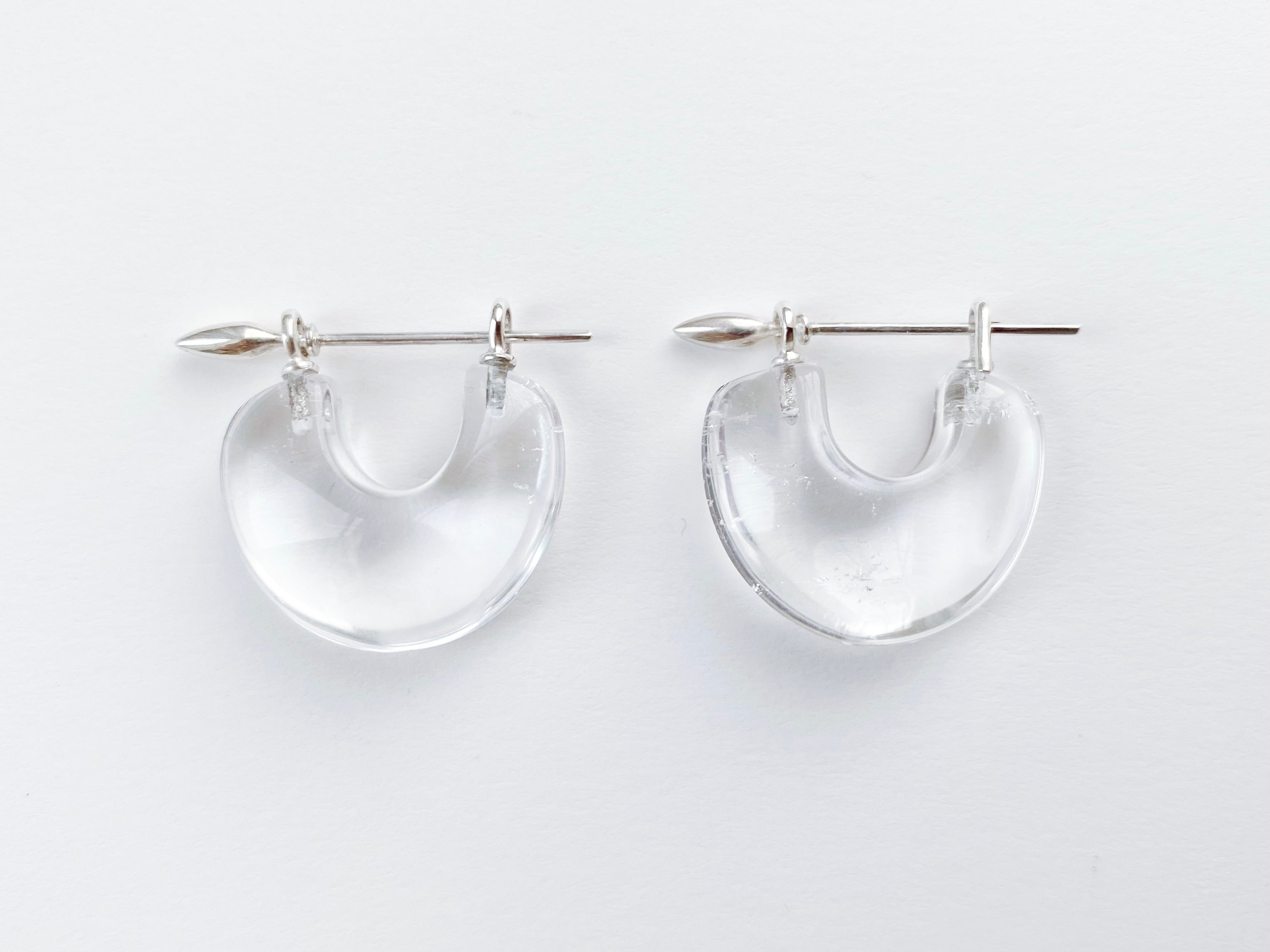Arch Earrings:Rock Quartz + Silver
