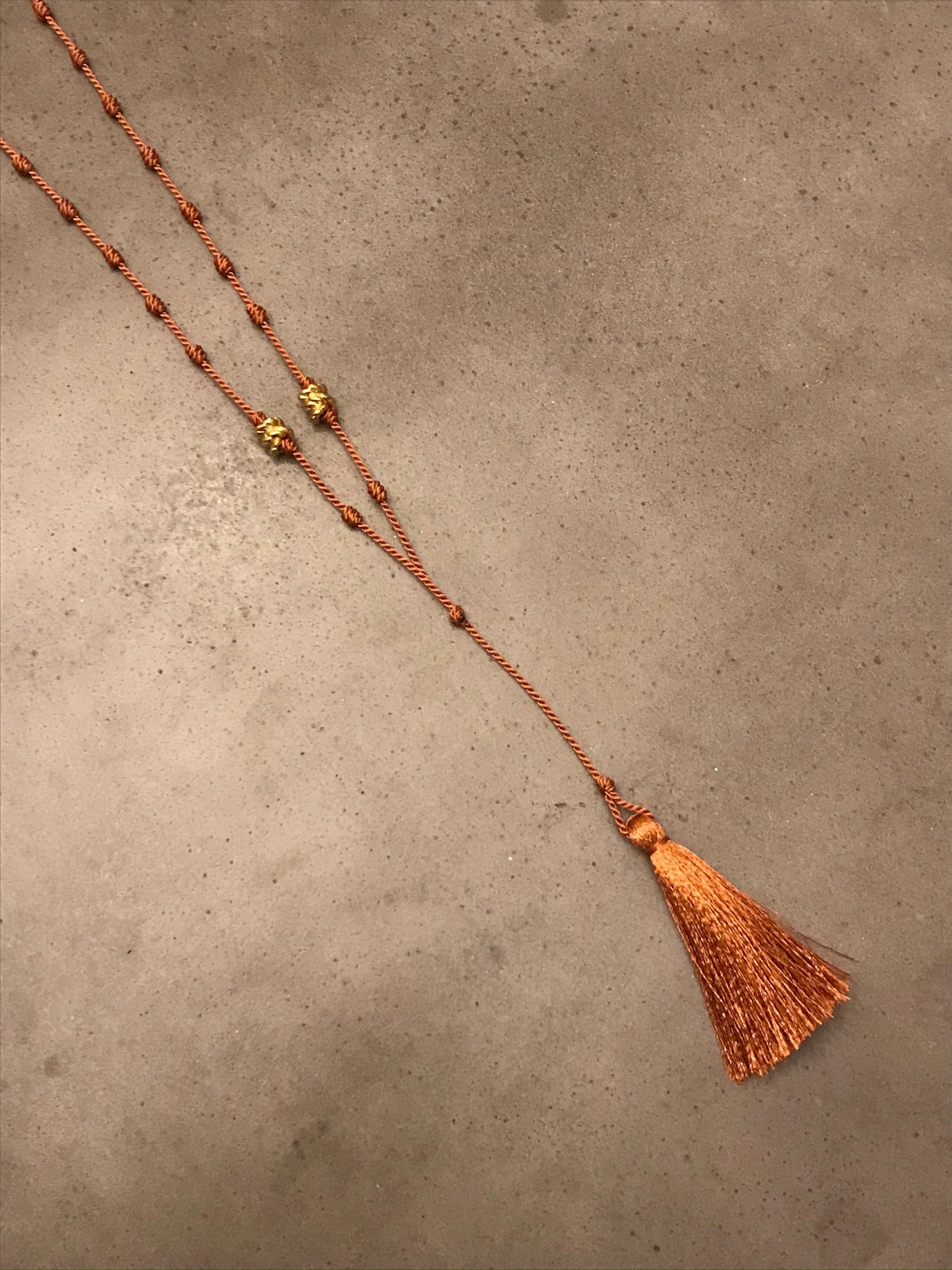 Silk Bede Necklace - Terracotta + Gold