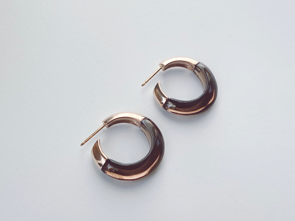 1/2 + 1/2 Hoops:Smokey Quartz + 18k Brown Gold