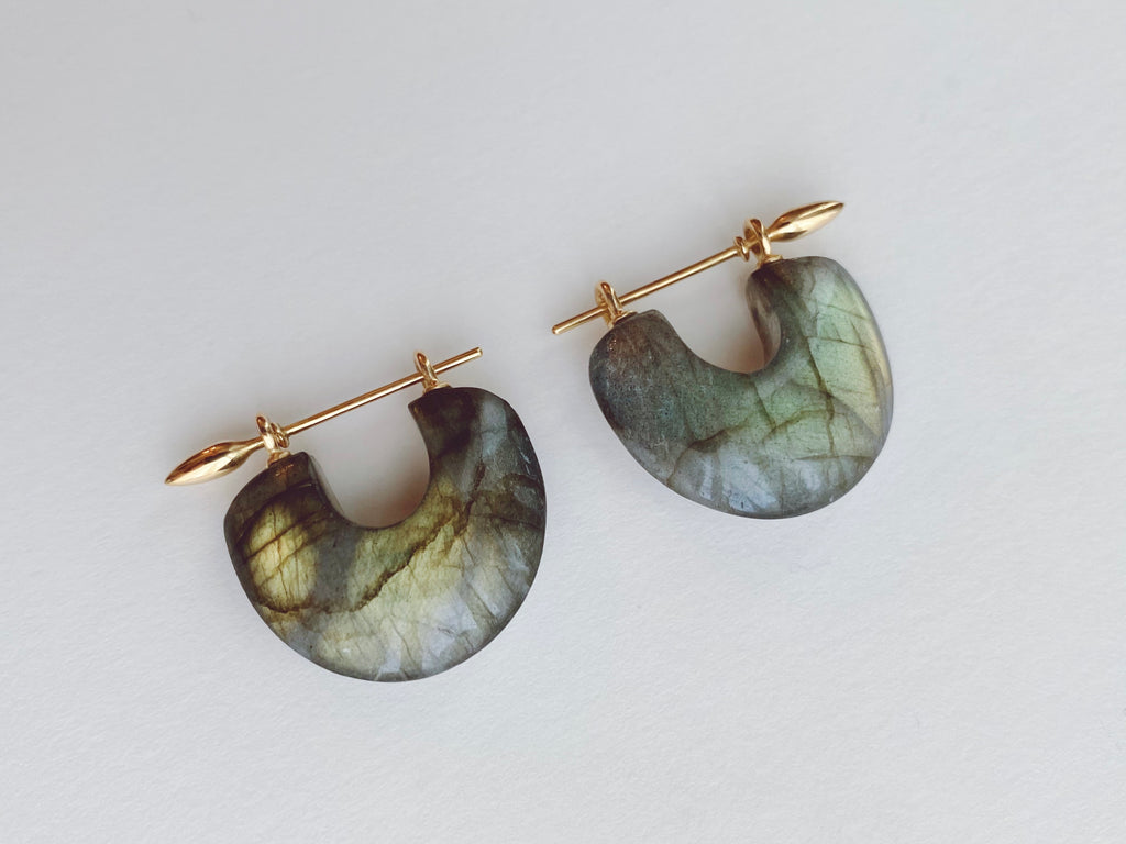 Arch Earrings : Golden Labradorite