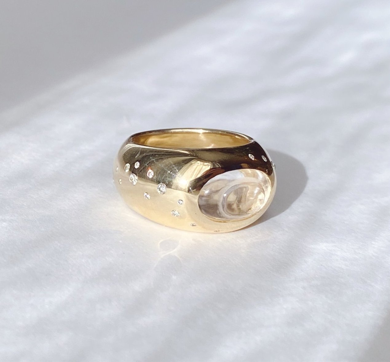 Temple Ring - Rock Quartz + Diamonds