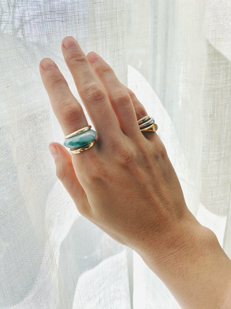 Green Jade Wave Ring
