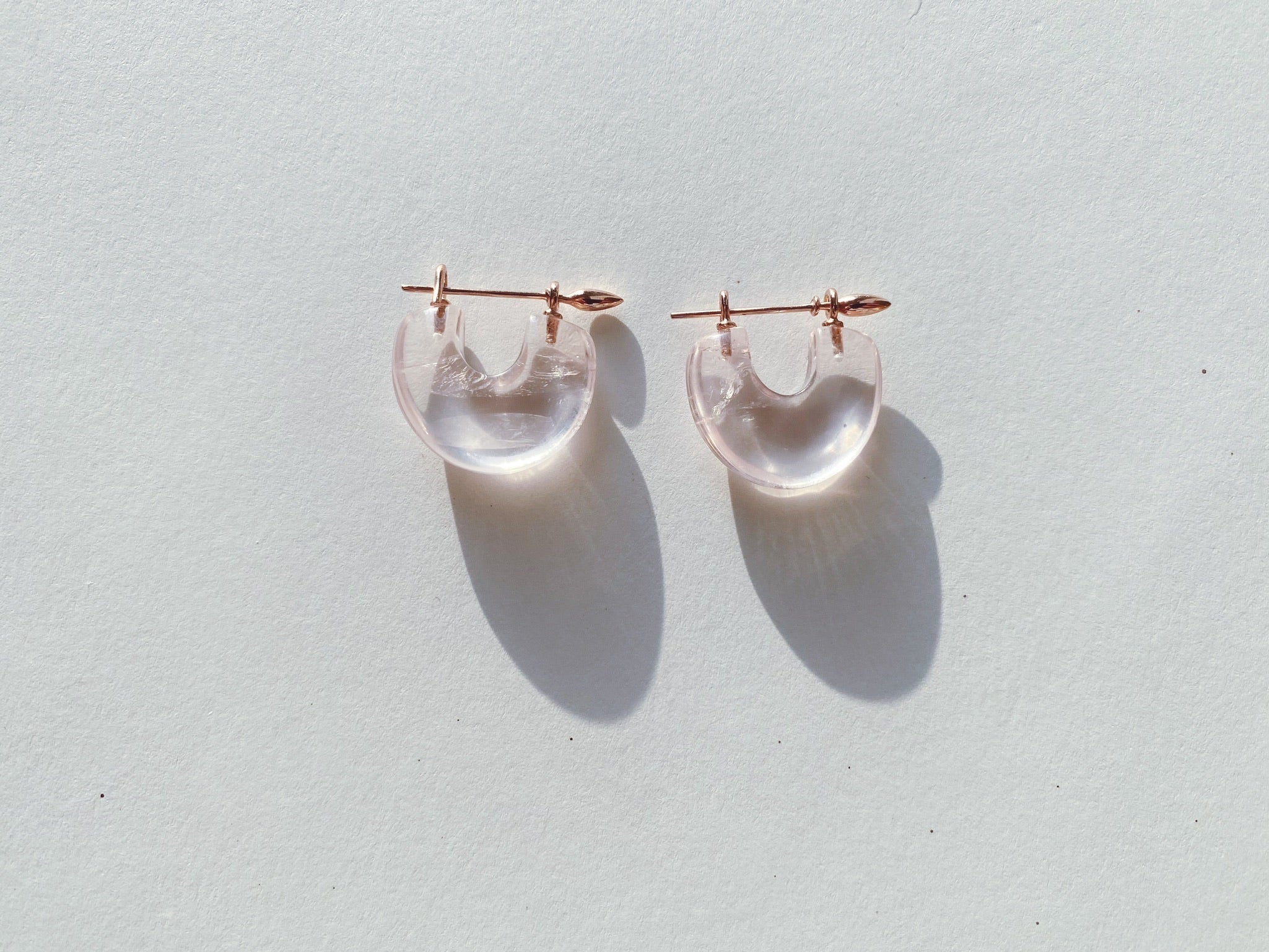 Arch Earrings : Bright Rose Quartz + Rose Gold
