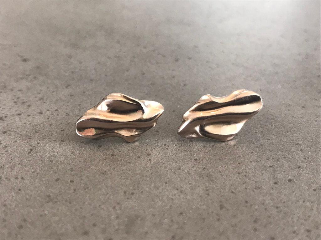18k Brown Gold Small Fold Studs