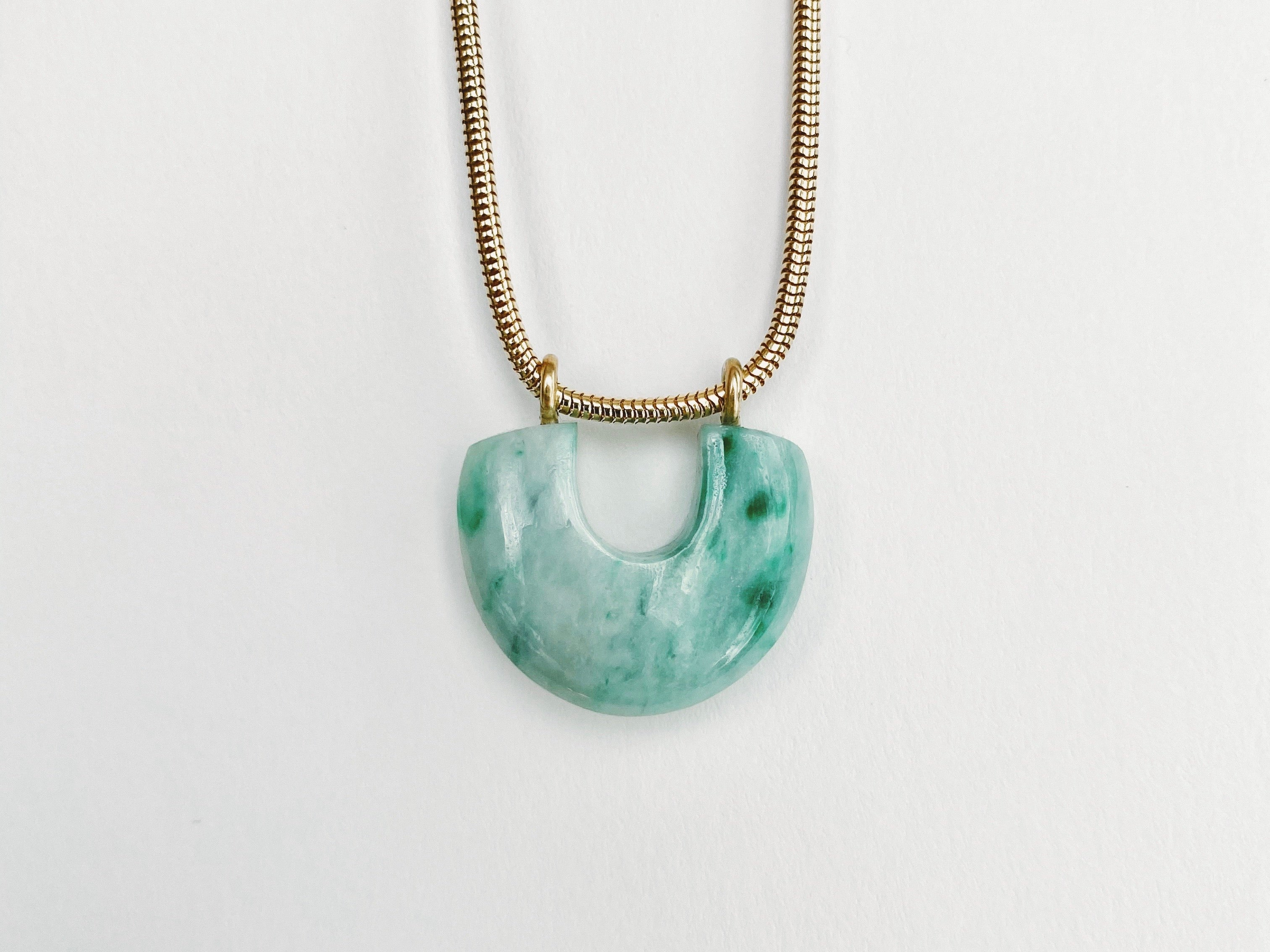 Arch Necklace : Green Jade