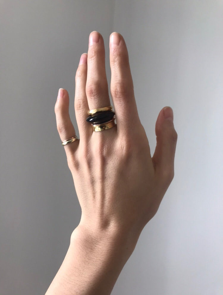 1/2 + 1/2 Ring : Black Jade + Green Gold