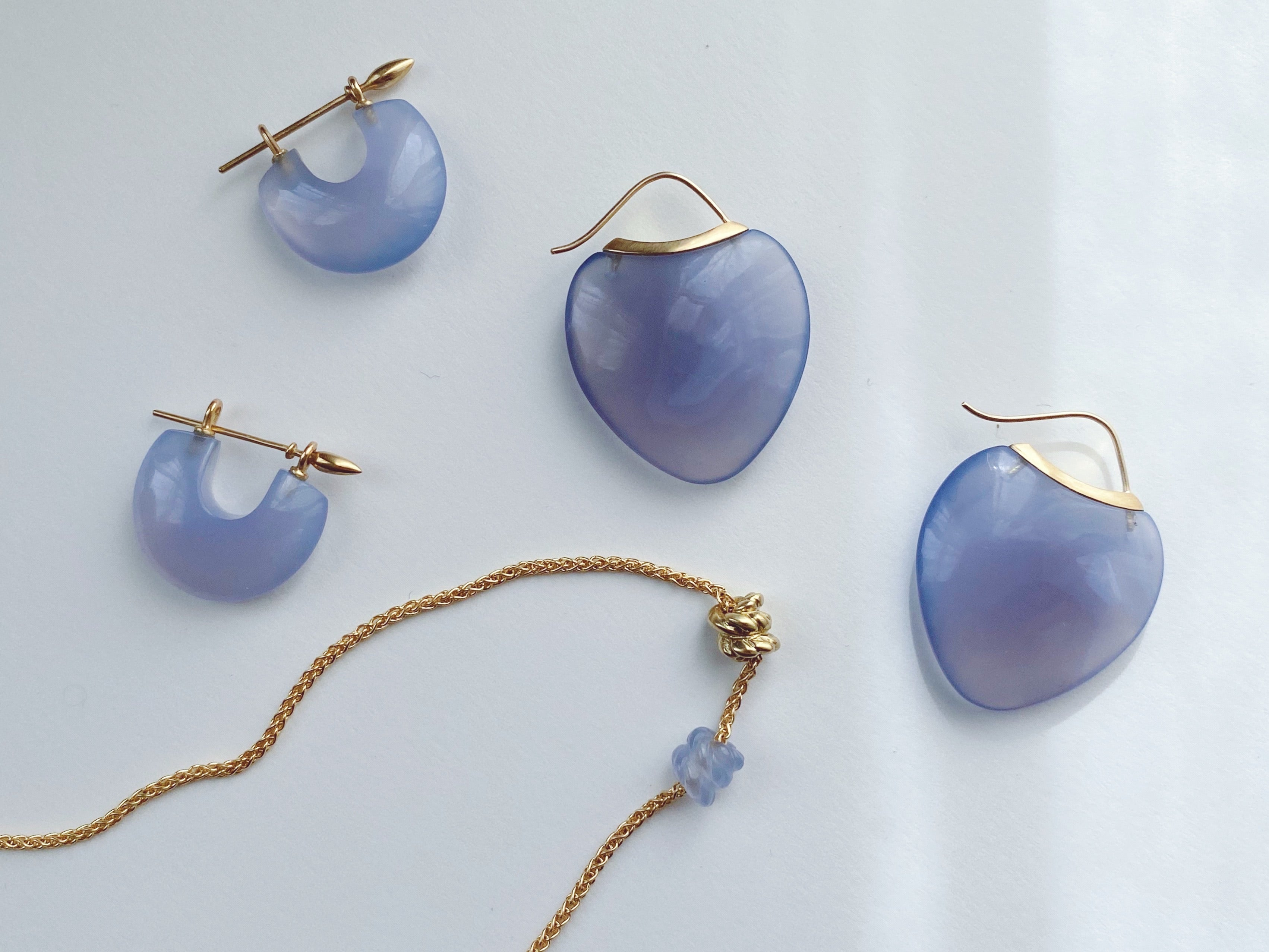Arch Earrings - Blue Chalcedony + Green gold