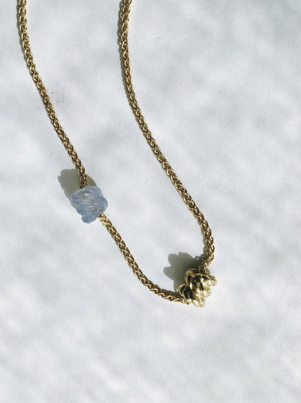 Mini Duo Knot Necklace - Blue Chalcedony