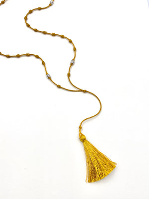 Silk Bede Necklace - Honey + Silver