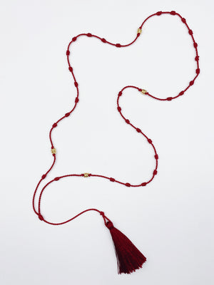 Silk Bede Necklace - Garnet + Gold