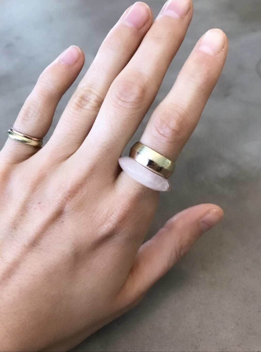 1/2 + 1/2 Ring : Rose Quartz + Rose Gold