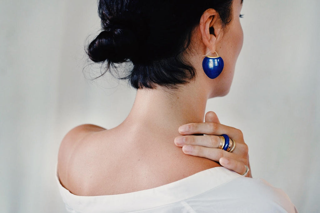 Papal Earring - Lapis + 22k Gold