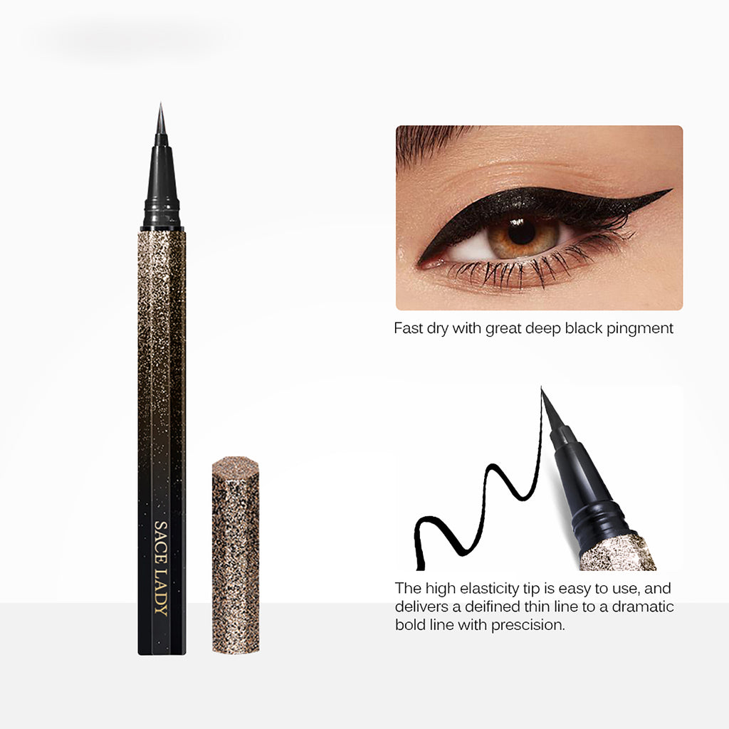 Black Waterproof Liquid Eyeliner Pencil Quick Dry Long Lasting Matte Eyeliner Smudge Proof Cosmetic