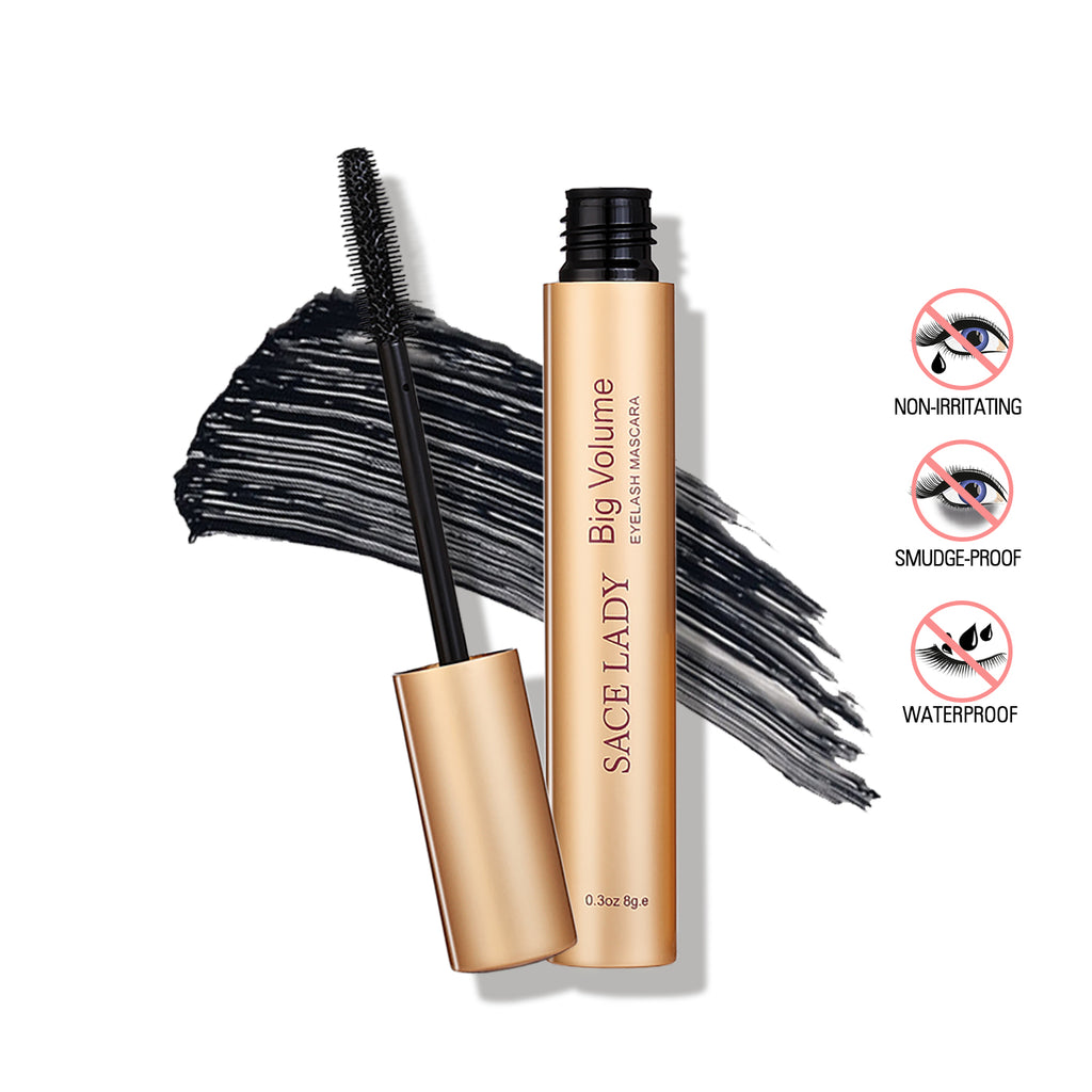 Black Big Volumizing Mascara Waterproof Curling Lengthening Eyelashes