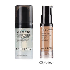 SACE LADY Face Makeup Set Matte Foundation Primer Full Cover Concealer Cream Liquid Corrector Make Up Kit Base Pores Cosmetic