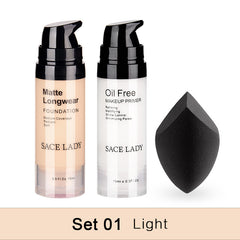 SACE LADY Professional Makeup Set Matte Foundation Primer Base Make Up Kit Oil-control Pores Liquid Cream Brand Cosmetic Puff