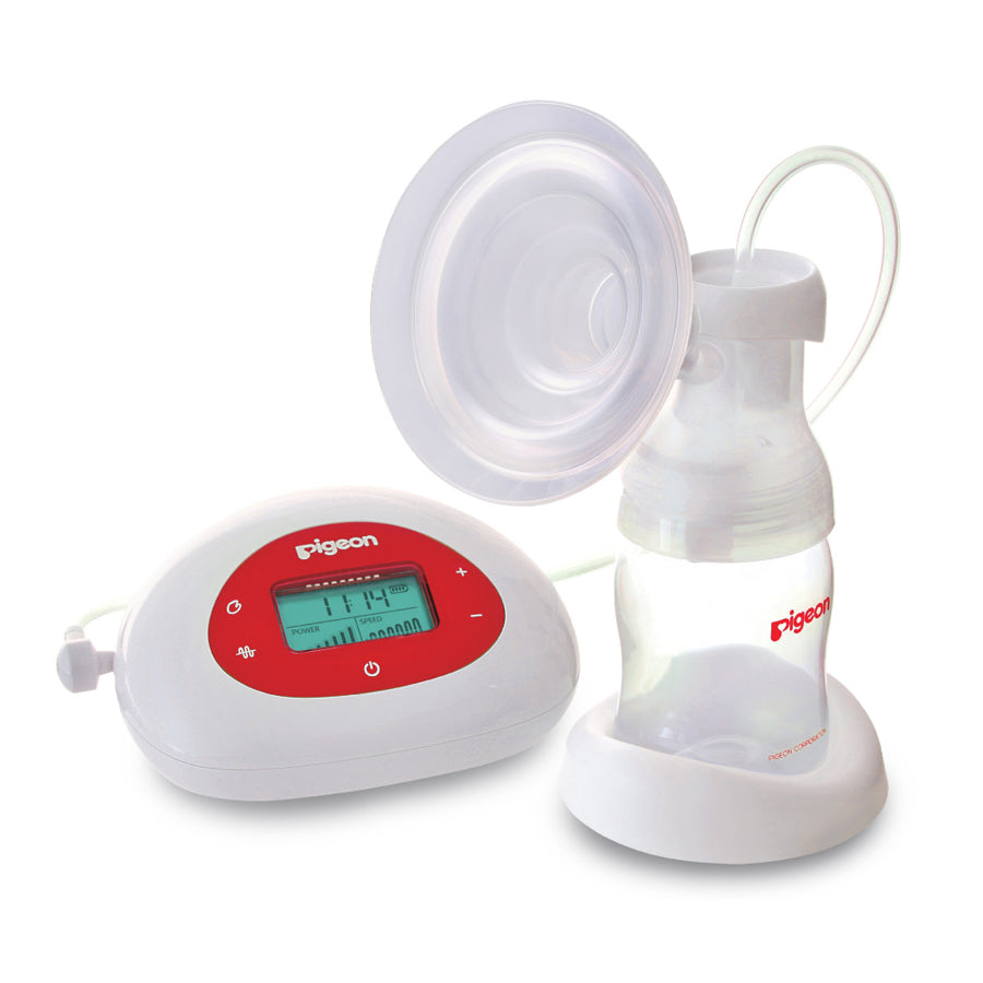 pigeon single electric breast pump with its base and digital monitor