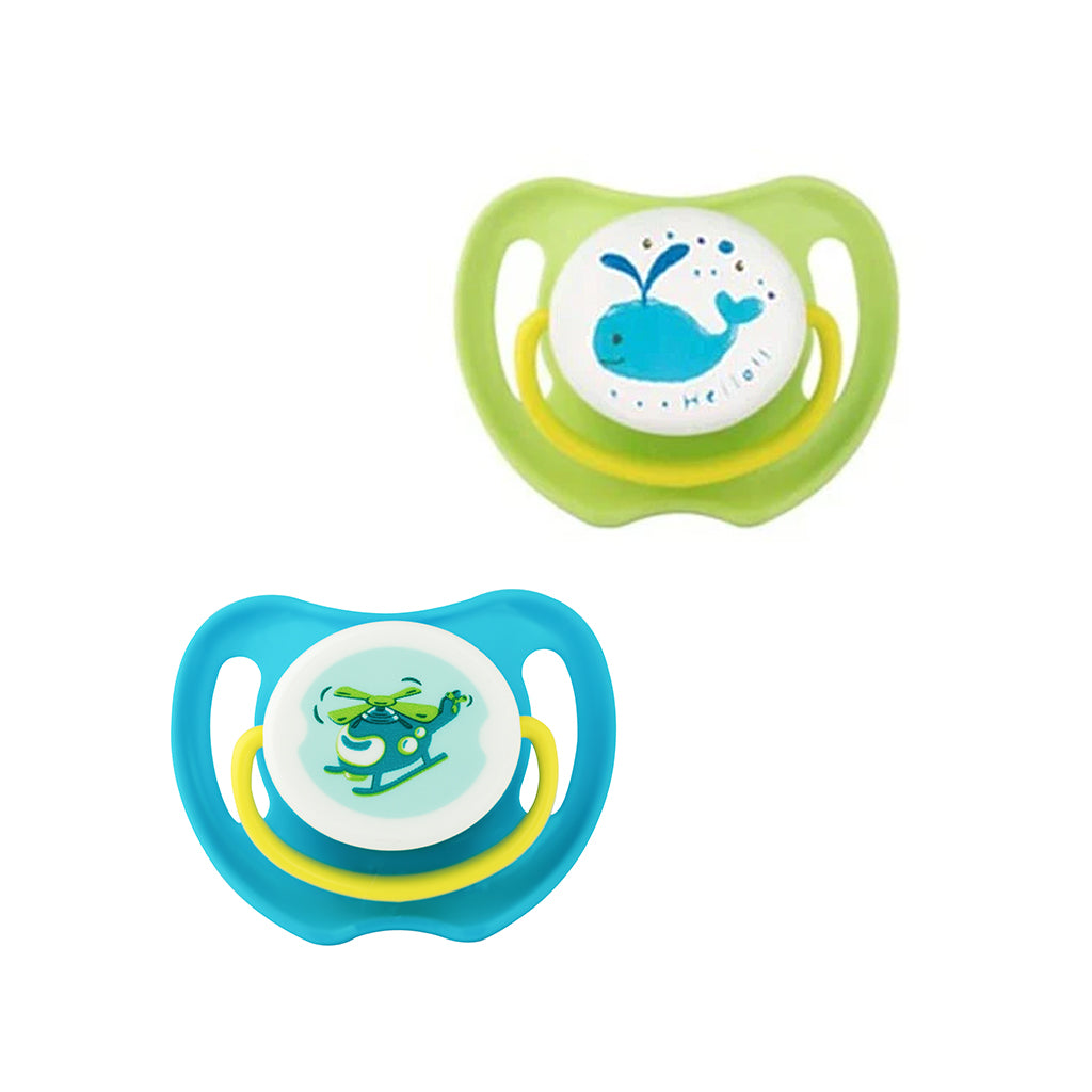 baby soother twin pack large size with helicopter and whale pictures