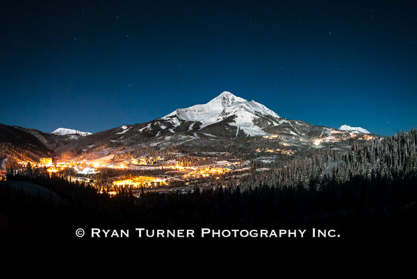 Ryan Turner Photography of Lone Peak Mountain in Big Sky, Montana for purchase at www.ryanturnerphoto.com. Mountain Village pictured.