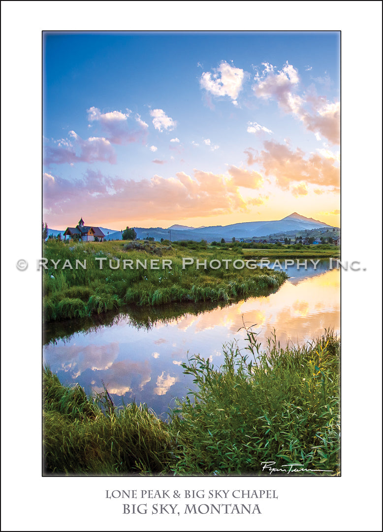 Ryan Turner Photography of the Chapel and Lone Peak Mountain in Big Sky, Montana for purchase at www.ryanturnerphoto.com.